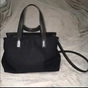 Coach black canvas with leather accent
